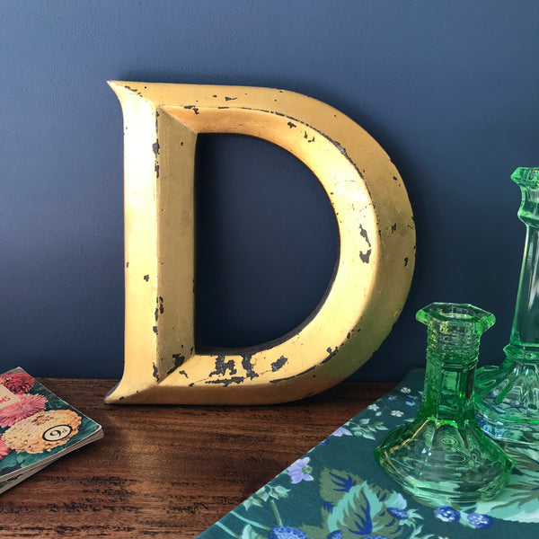 Gold Letter D salvaged from a shop sign