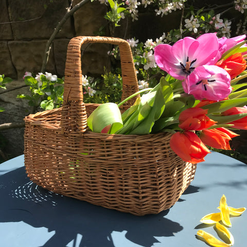 Small vintage woven wicker shopping basket with handle