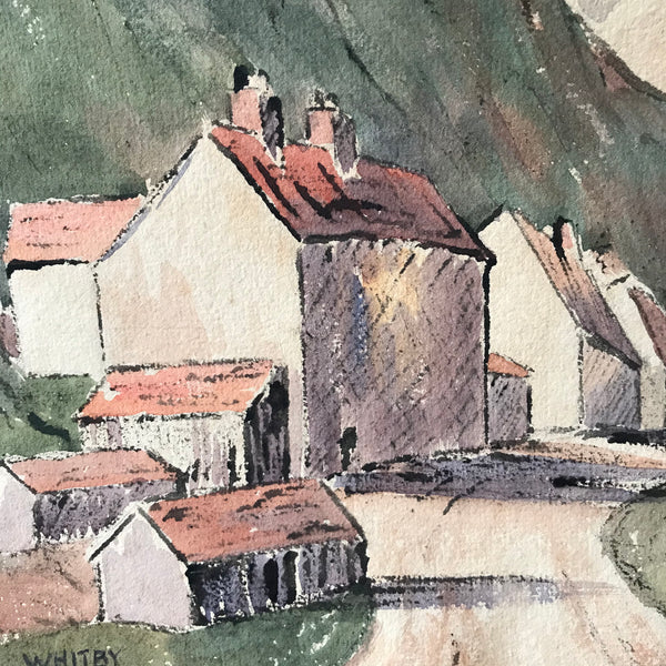 Original watercolour of Whitby by V Stone from the 1920s