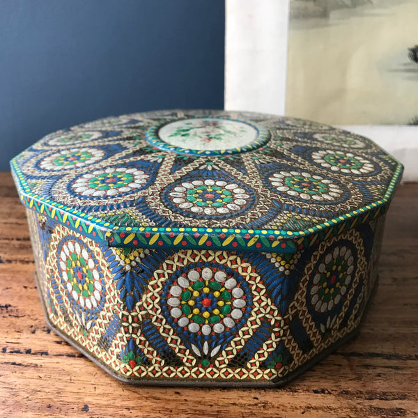 Vintage floral and mosaic style Carr and Co biscuit tin with hinged lid
