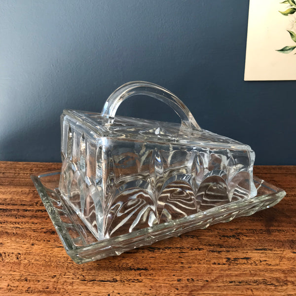 Heavy cut glass vintage butter dish