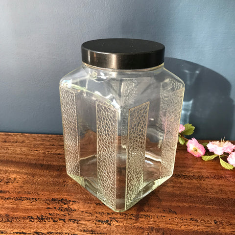 1940s glass jar with black plastic lid - great kitchen storage canister