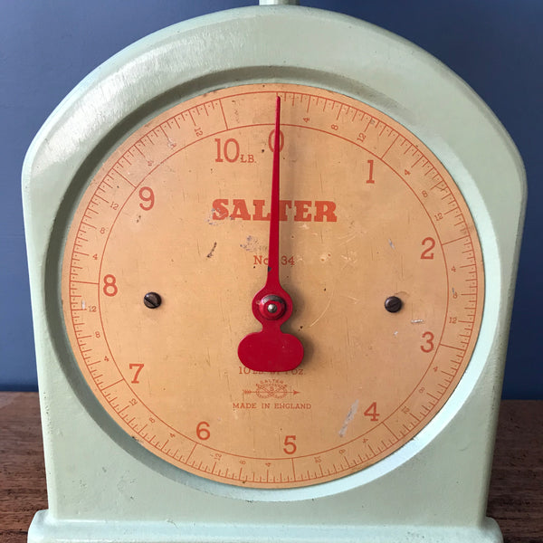 Salter kitchen scales in mint green