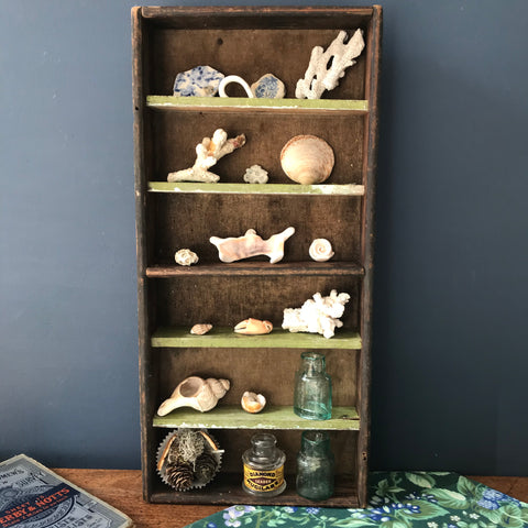 Small rustic and chippy wooden segmented box or shelf