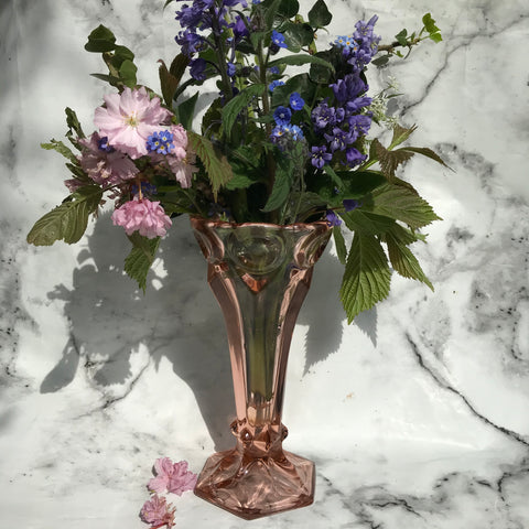 Blush pink glass flower vase