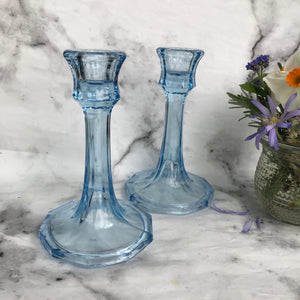 Pair of vintage blue glass candlesticks