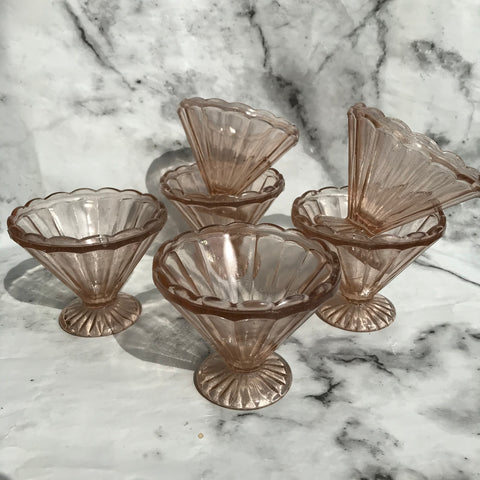 Set of six blush pink 1950s conical sundae bowls