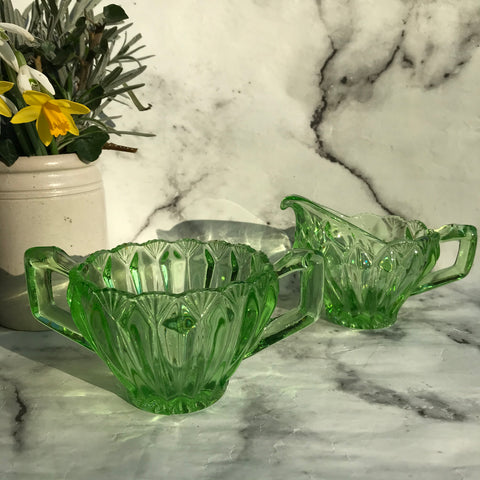 1930s green glass milk jug and sugar bowl
