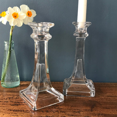 Elegant clear glass candlesticks with square base