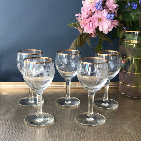 Greek Key etched port glasses with gold rims