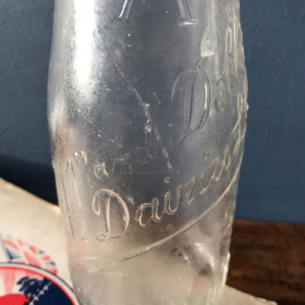 Set of three 1950s school milk bottles
