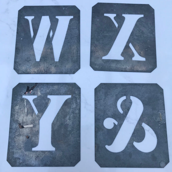 Salvaged Letter Stencils W, X, Y and ampersand