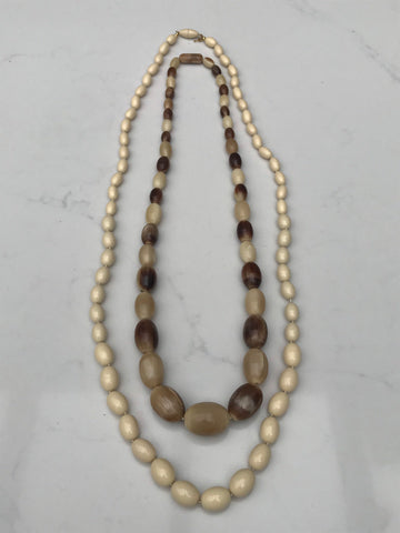 Chunky cream and brown 1980s long beaded necklaces
