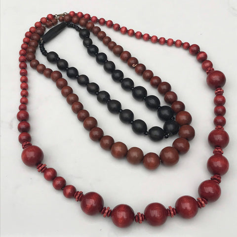 Chunky red and brown wooden vintage 1980s necklaces