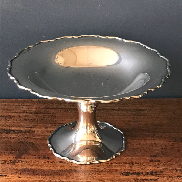 Antique silver tazza - 1920s sterling silver dish on a pedestal