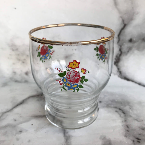 Set of five 1950s tumblers with floral decoration