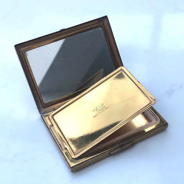 Vintage Vogue Vanitie compact and mirror with floral decoration