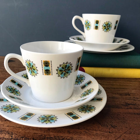 Set of two 1970s Colclough teacup trios