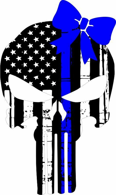 Thin blue line punisher decal with blue bow - Powercall Sirens LLC