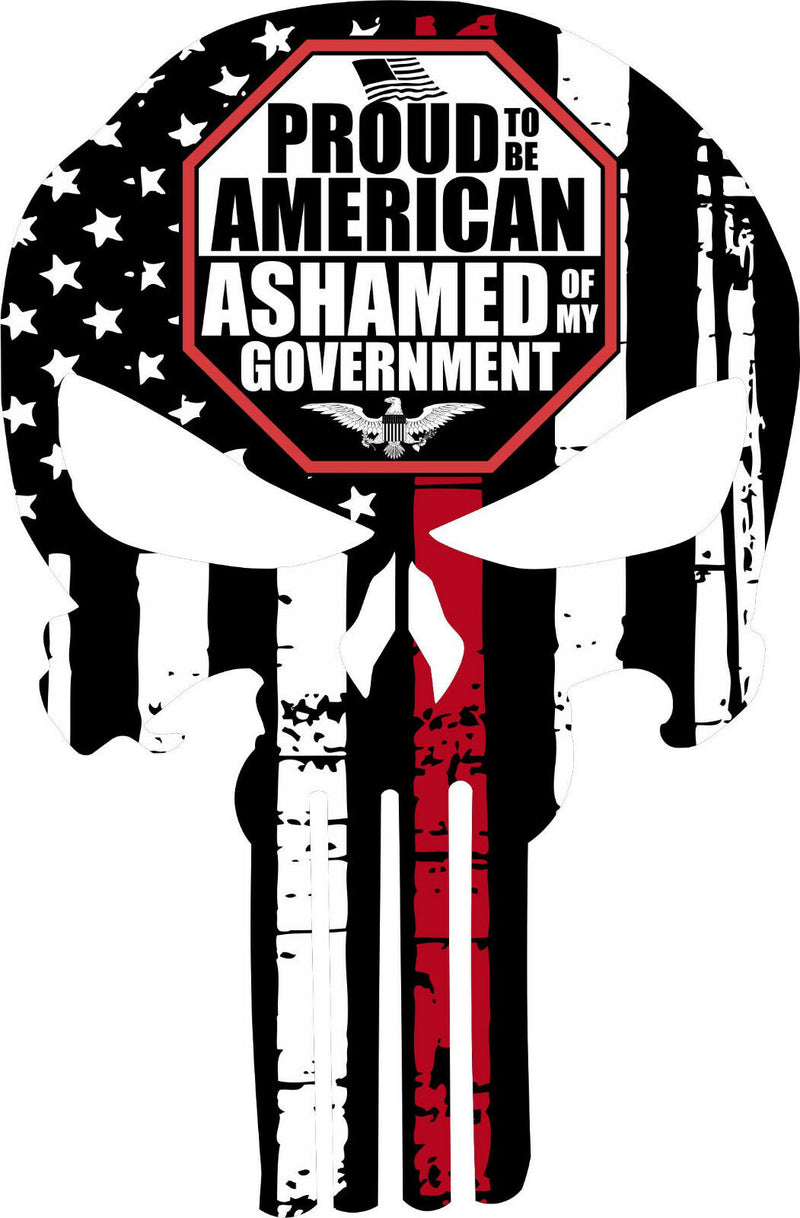 Thin Red Line Punisher Decal - Firefighter Ashamed Govt Decal - Various Sizes - Powercall Sirens LLC