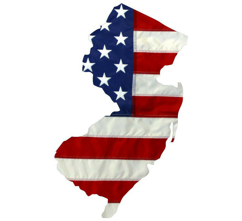 State of New Jersey Realistic American Flag Window Decal - Various Sizes - Powercall Sirens LLC