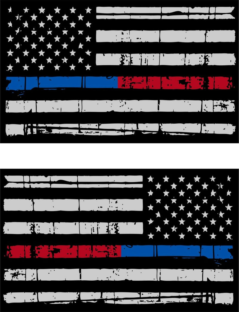 "Tattered Police Fire Thin Blue/Red Line reflective American Flag 5""x3"" Decal x 2 - Powercall Sirens LLC"