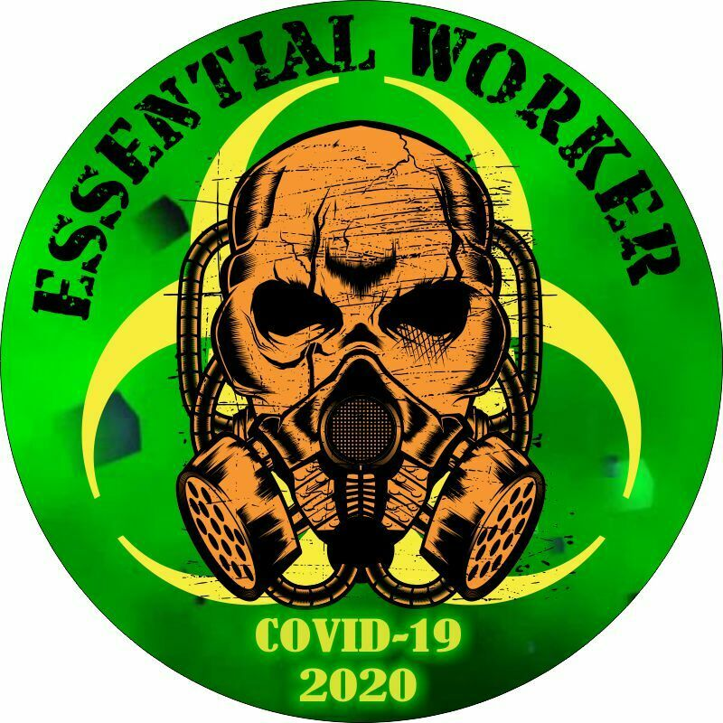 Essential Worker Sticker - Green Hazmat/Radioactive Skull Decal - Various Sizes - Powercall Sirens LLC
