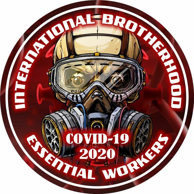 Brotherhood Essential Workers Red Biohazard Skull Hardhat/Window Decal USA Made - Powercall Sirens LLC