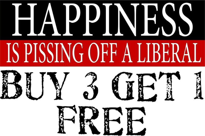 "Happiness is Pissing off a Liberal Bumper Sticker 8.8"" x 3"" Trump Bumper Decal - Powercall Sirens LLC"