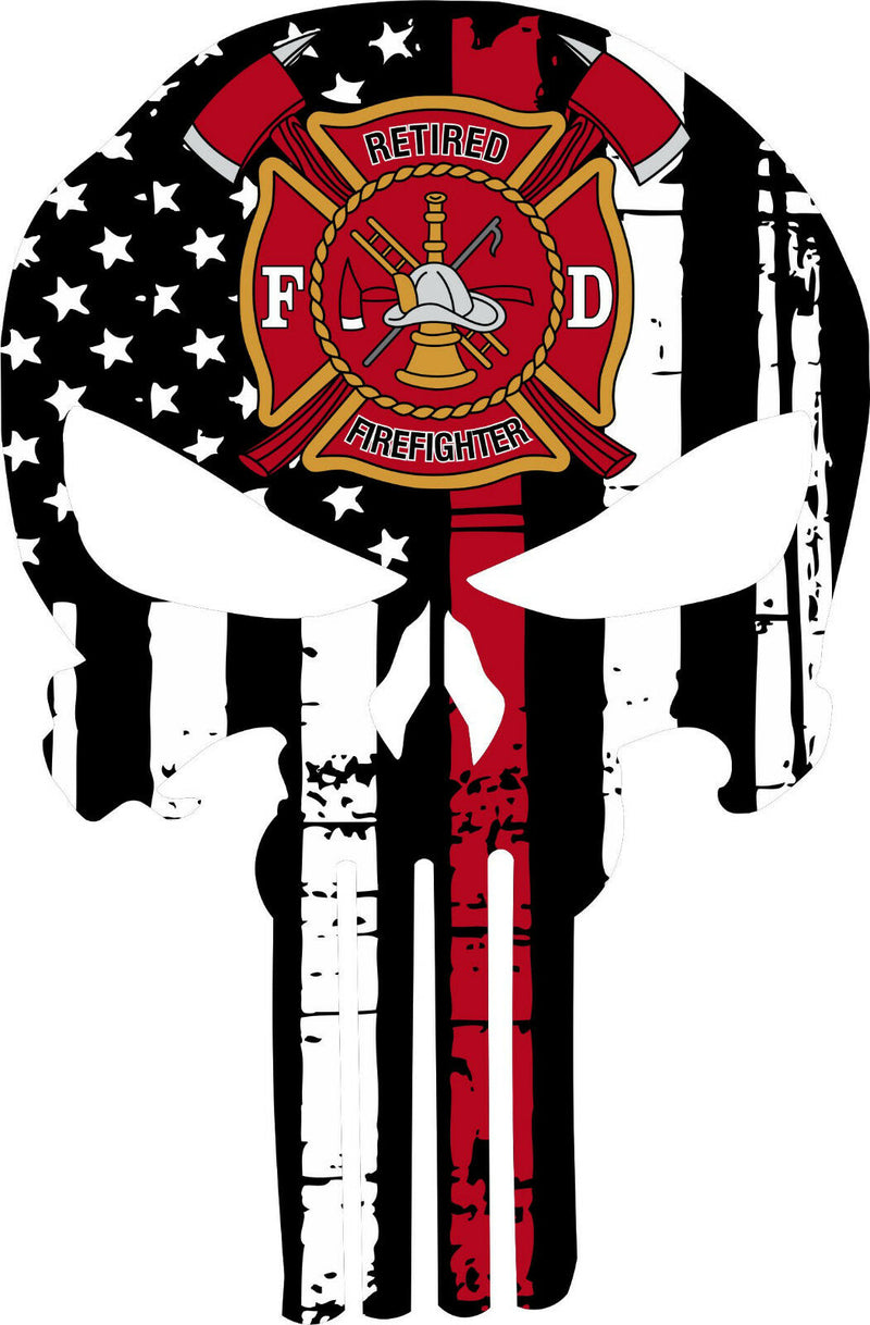 Thin Red Line Punisher Decal - Retired Firefighter Maltese Decal - Various Sizes - Powercall Sirens LLC
