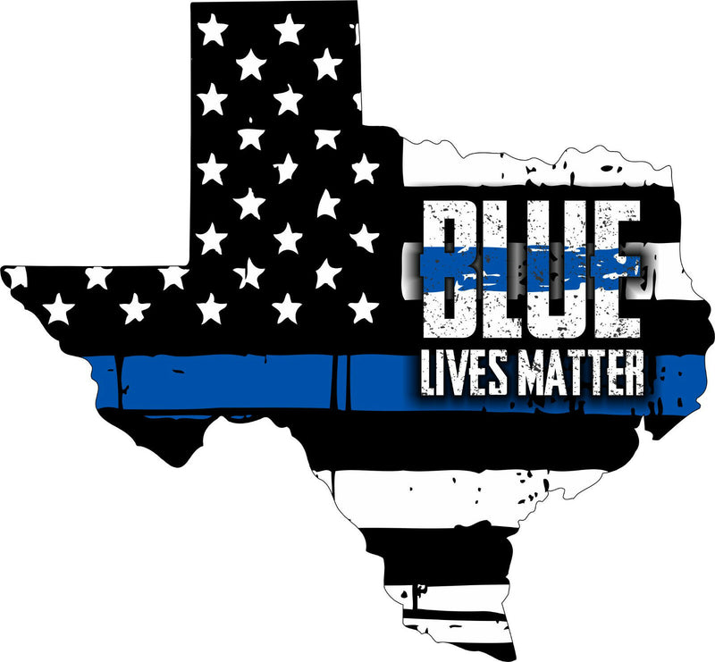 Texas BLUE LIVES MATTER Decal - Various Sizes - Powercall Sirens LLC