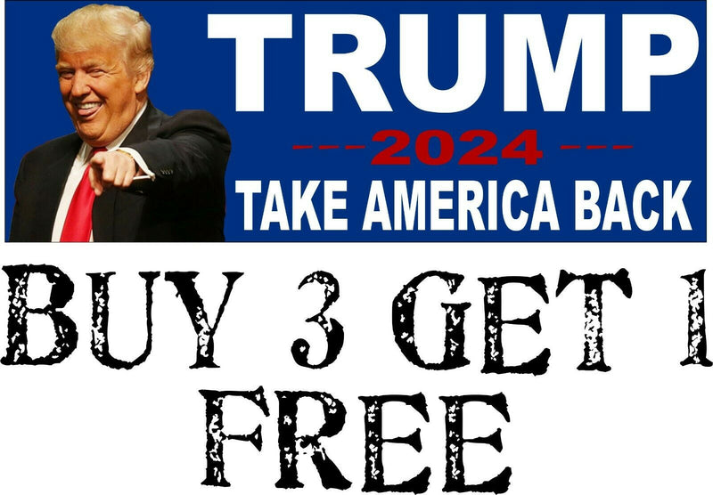 "Trump President TAKE AMERICA BACK MAGA 2024 Bumper Sticker 8.7"" x 3"" Trump 2024 - Powercall Sirens LLC"