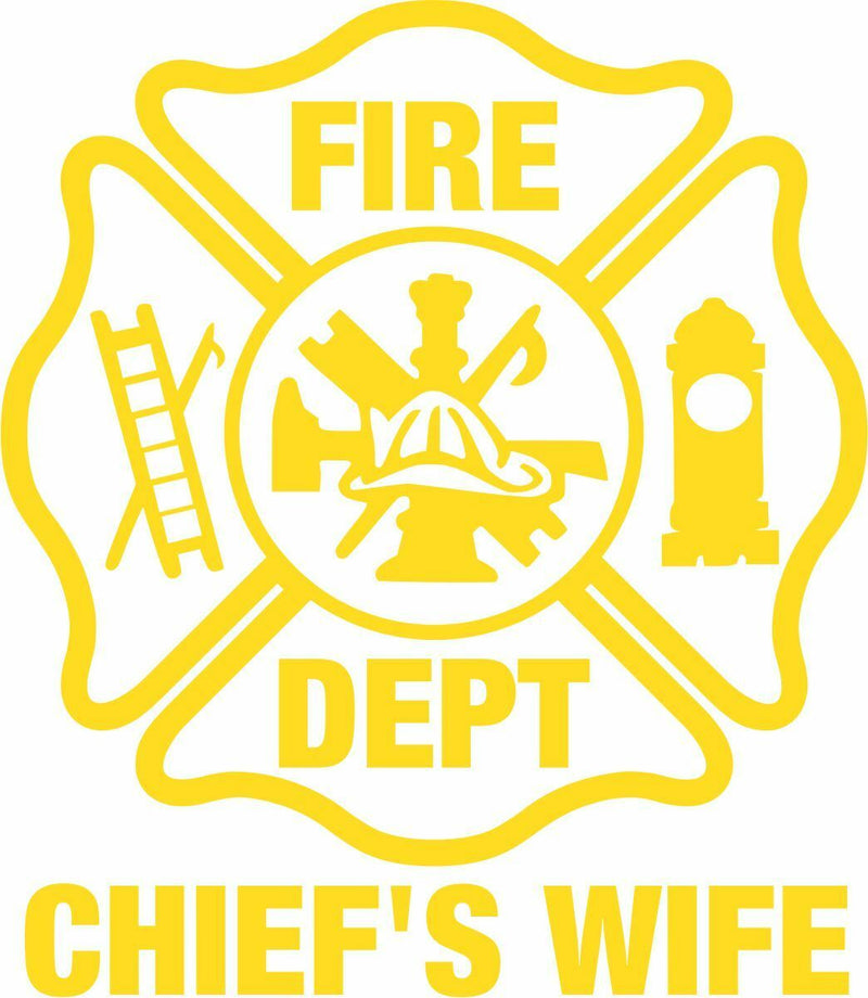 Chief's Wife Firefighter Window Sticker Various Sizes and colors Free Shipping - Powercall Sirens LLC