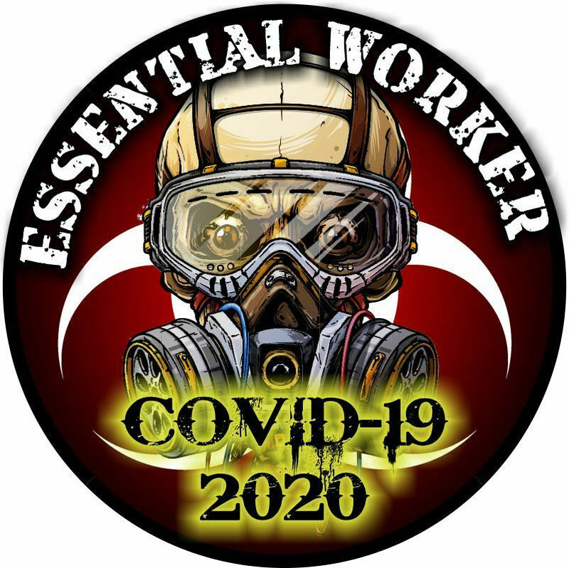 Essential Worker Decal - Virus Skull Version - Various Sizes, UV Laminated - Powercall Sirens LLC