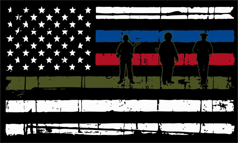 Thin Blue Line Horizontal Flag DISTRESSED Flag Firefighter, Police,Military,FIRE - Powercall Sirens LLC