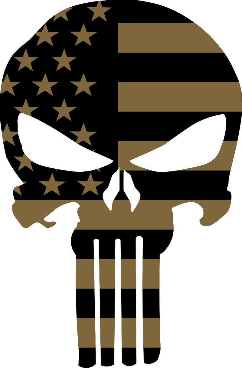 Punisher Skull Coyote Color Decal Outdoor/Indoor Decal - Various Sizes - Powercall Sirens LLC