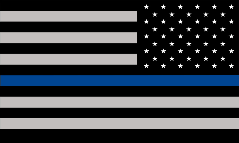 Thin Blue Line Decal - REVERSED American Flag REFLECTIVE - Various Sizes - Powercall Sirens LLC