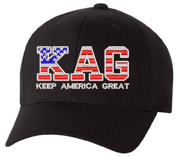 Keep America Great USA Trump KAG Flex fit Embroidered hat with BACK USA FLAG - Powercall Sirens LLC