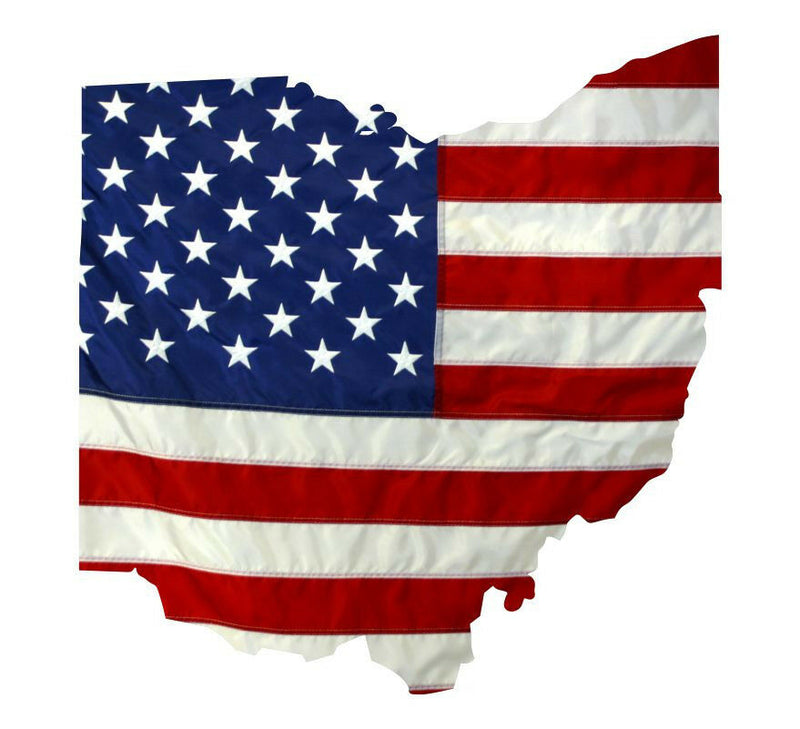 State of Ohio Realistic American Flag Window Decal - Various Sizes - Powercall Sirens LLC