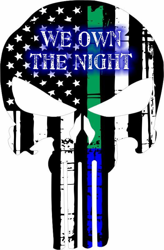 Thin Blue/Green Line Punisher We Own the Night decal Various Sizes Free Shipping - Powercall Sirens LLC
