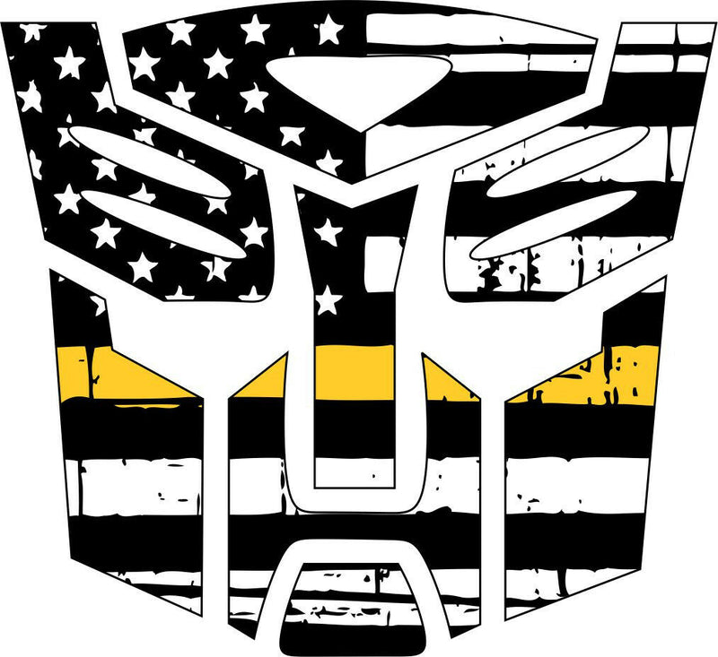 Thin yellow line decal - Transformer Autobot yellow Line Decal in many sizes - Powercall Sirens LLC
