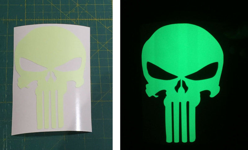 Punisher Skull Decal Foxfire Illuminating Exterior Window Decal - Various Sizes - Powercall Sirens LLC