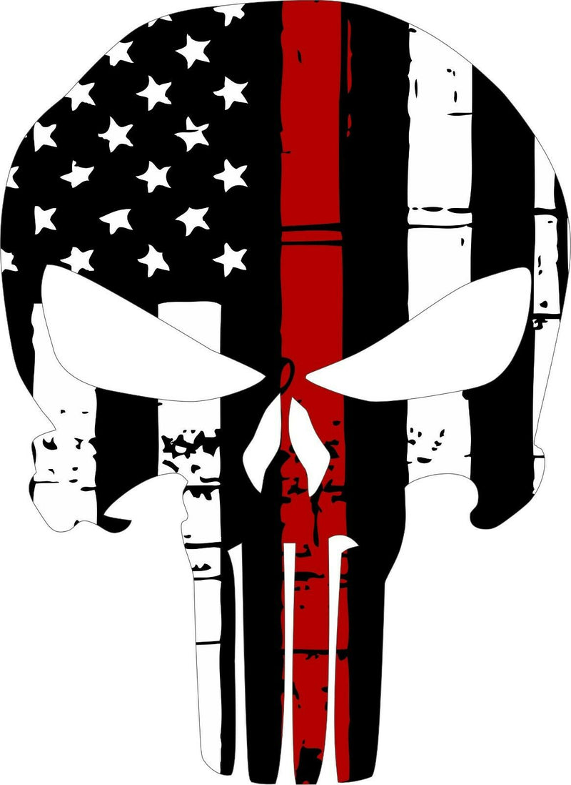 Thin Red Line Punisher Skull Decal - Powercall Sirens LLC
