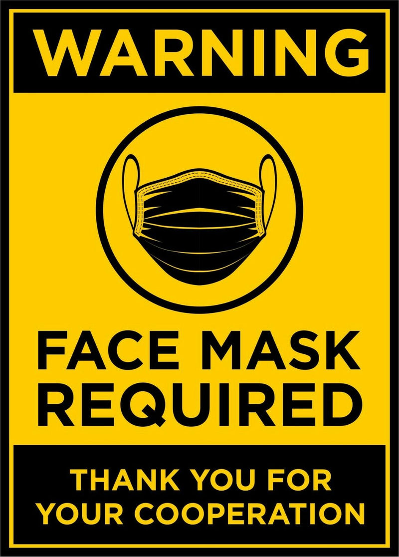 "Warning Face Mask Required Window/Door Stickers  5.5"" x 4"" QUANTITY OF 2 DECALS - Powercall Sirens LLC"