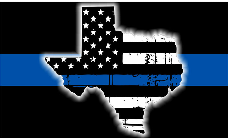 Texas Blue Line with Texas Tattered Decal - Powercall Sirens LLC