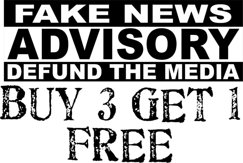 "Defund the Media Bumper Sticker Fake News Advisorty 8.7"" x 3"" Buy 3 get one free - Powercall Sirens LLC"