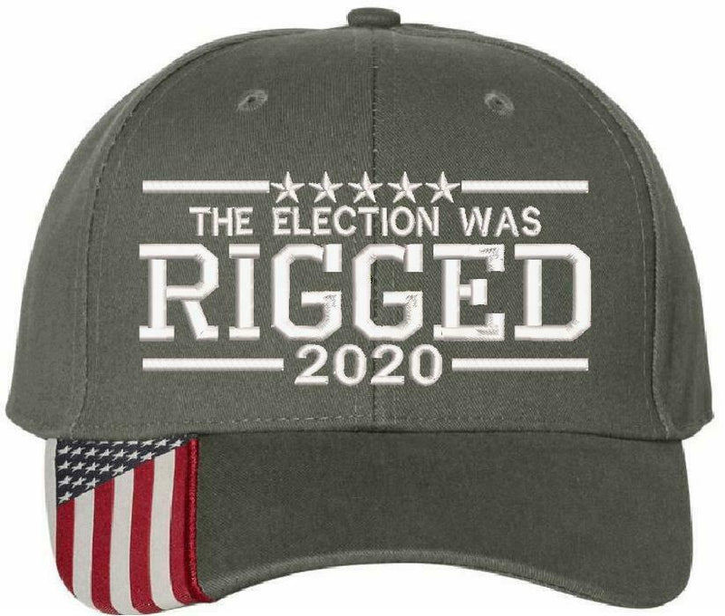 2020 Election was Rigged Embroidered Hat Trump USA300 Outdoor Cap w/Flag Brim - Powercall Sirens LLC