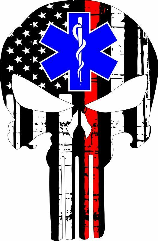 Thin Red Line Punisher EMS Star Decal - Powercall Sirens LLC