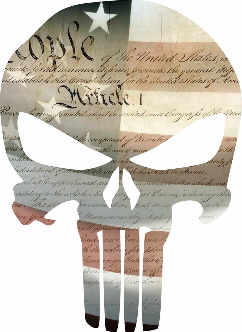 Punisher Skull Constitution Flag Punisher Exterior Decal - Graphic Various Sizes - Powercall Sirens LLC