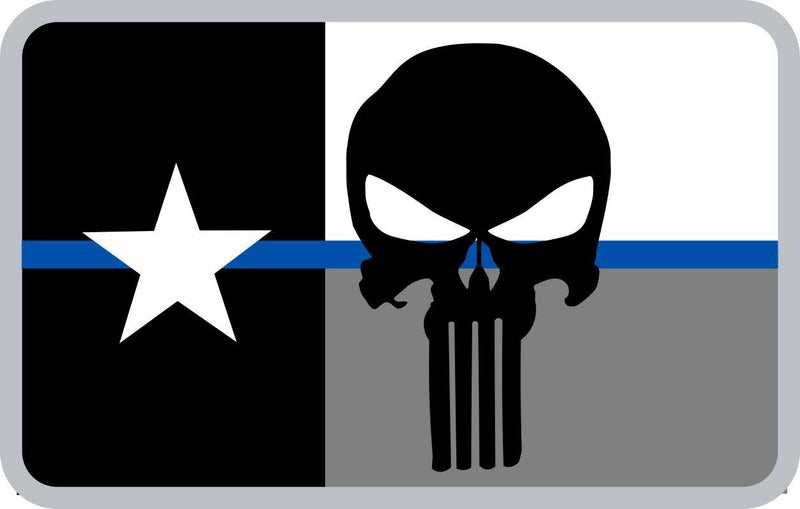Texas Punisher Flag Decal - Numerous Sizes Free Shipping - Powercall Sirens LLC